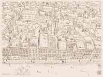 Dé a línea exhausta bosquejo de la tinta la ciudad vieja europea Foto de archivo libre de regalías