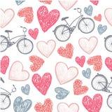 Dé la bicicleta exhausta y los corazones que se casan, tarjeta del día de San Valentín, Fotografía de archivo libre de regalías