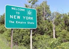 Dé la bienvenida a Nueva York al estado del imperio foto de archivo
