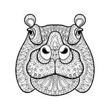 Dé la cabeza tribal exhausta del hipopótamo, tótem animal