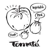 Dé la caligrafía exhausta en el tomate, letras, caligrafía Imagenes de archivo