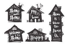 Dé la caligrafía exhausta en la casa de la silueta, hogar dulce del hogar, mi h Foto de archivo