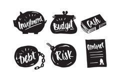 Dé la caligrafía exhausta en silueta, inversión, presupuesto, efectivo, d Fotografía de archivo