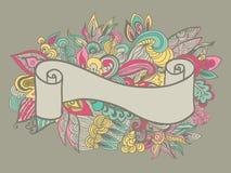 Dé la cinta exhausta en el fondo floral del doole Ilustración del vector ilustración del vector