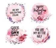 Dé la colección exhausta de amor artístico, boda, diseños de la enhorabuena de la tarjeta del día de San Valentín Fotografía de archivo
