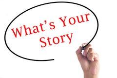 Dé la escritura qué ` s su historia en tablero transparente fotografía de archivo libre de regalías