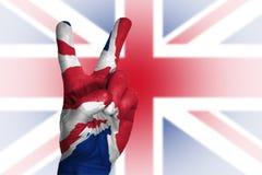 Dé la fabricación de la muestra de la victoria, Reino Unido pintó con la bandera como símbolo Fotografía de archivo libre de regalías