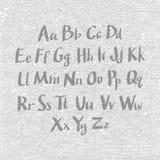 Dé la fuente exhausta y bosquejada, alfabeto del estilo del bosquejo del vector Fotografía de archivo libre de regalías