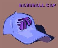 Dé la gorra de béisbol azul exhausta con una muestra del diseño ilustración del vector