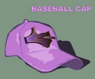 Dé la gorra de béisbol púrpura exhausta con una muestra del diseño ilustración del vector