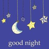Dé la luna exhausta con las estrellas que cuelgan en el fondo azul brillante Buenas noches Imágenes de archivo libres de regalías