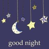 Dé la luna exhausta con las estrellas que cuelgan en fondo azul marino Buenas noches Fotos de archivo