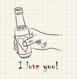 Dé la mano exhausta que sostiene una botella preciosa en el papel cuadrado matemático Imagen de archivo