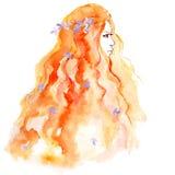 Dé la muchacha del bosquejo del dibujo con la flor en pelo imagen de archivo