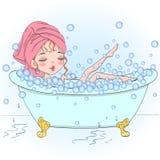 Dé la muchacha hermosa, linda exhausta en las burbujas del soplo del cuarto de baño stock de ilustración