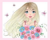 Dé la muchacha linda hermosa exhausta con un ramo de flores y de mariposas stock de ilustración