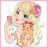 Dé la muchacha linda hermosa exhausta del selfie con el gato y el teléfono elegante Ilustración del vector ilustración del vector