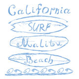 Dé la muestra bosquejada exhausta de la resaca de la playa de California que pone letras Malibu, diseño de la impresión de la cam Fotografía de archivo libre de regalías