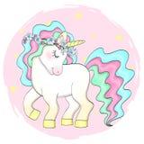 Dé la pequeña muchacha linda hermosa exhausta del unicornio con la guirnalda en su cabeza Ilustración del vector stock de ilustración