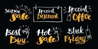 Dé la promoción de venta exhausta de la caligrafía o los iconos fijados los eventos Handw Fotografía de archivo libre de regalías
