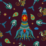 Dé la sirena, el mar-caballo y calamar ornamentales exhaustos Fotos de archivo libres de regalías