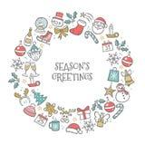 Dé la tarjeta de felicitación exhausta de la Navidad con los elementos dibujados mano Foto de archivo