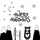 Dé la tarjeta de Navidad exhausta en estilo escandinavo con los elementos del Año Nuevo y frase lindos de las letras Vector Imagen de archivo libre de regalías