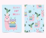Dé la tarjeta linda exhausta con el cactus, drama de la llama no stock de ilustración