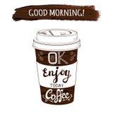 Dé la taza de café del VECTOR y el movimiento estilizados dibujados de la pintura con las letras manuscritas Fotografía de archivo