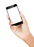 Dé la trayectoria de recortes blanca aislada smartphone del control dentro Imagen de archivo