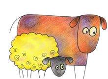 Dé la vaca y las ovejas exhaustas en un fondo blanco Foto de archivo