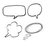 Dé las burbujas exhaustas del discurso en el papel de la acuarela aislado en blanco Fotos de archivo