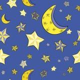 Dé las estrellas amarillas exhaustas con las lunas en el fondo azul brillante Modelo inconsútil Ejemplo del vector del cielo noct Fotos de archivo