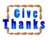 Dé las gracias por acción de gracias en la hoja marrón blanca blanca en cuadrado Imagenes de archivo