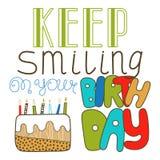 Dé las letras exhaustas, guarde el sonreír en su cumpleaños Garabato, letras del día de fiesta, enhorabuena Foto de archivo