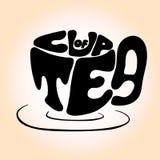Dé las letras negras exhaustas de la taza con la frase 'taza del té' Imagen de archivo
