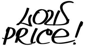Dé las letras negras exhaustas del vector de la tinta de la frase del precio bajo stock de ilustración