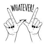 Dé las manos femeninas exhaustas en W para CUALQUIER gesto Ejemplo de destello del vector del diseño del tatuaje, de la etiqueta  stock de ilustración
