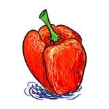 Dé las pimientas rojas exhaustas, pimientas rojas pintorescas pintadas abstractas aisladas en un fondo blanco Foto de archivo libre de regalías