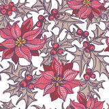 Dé las ramitas del acebo y las flores exhaustas de la poinsetia modelo inconsútil Foto de archivo libre de regalías