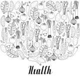 Dé las verduras exhaustas en la salud blanca del fondo y de las letras Fotografía de archivo