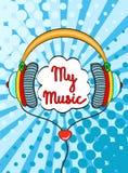 Dé los auriculares cómicos exhaustos con poner letras a mi música Vector el objeto colorido en estilo cómico retro del arte pop e ilustración del vector