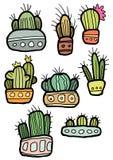Dé los cactus pequeños y grandes planos coloridos divertidos exhaustos en los potes aislados en el fondo blanco stock de ilustración