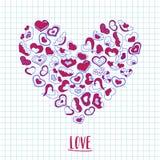 Dé los corazones exhaustos de la tinta en un trozo de papel del cuaderno Ejemplo del día de tarjetas del día de San Valentín para Imagen de archivo libre de regalías