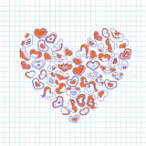 Dé los corazones exhaustos de la tinta en un trozo de papel del cuaderno Ejemplo del vector del día de tarjetas del día de San Va Imagen de archivo