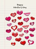 Dé los corazones exhaustos en un trozo de papel alineado cuaderno Ejemplo del día de tarjetas del día de San Valentín para una ta Fotografía de archivo
