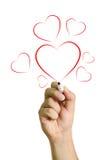 Dé los corazones rojos de dibujo aislados en el fondo blanco Imagen de archivo libre de regalías
