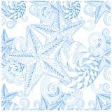 Dé los crustáceos exhaustos del estilo del zentangle, azul inconsútil de las estrellas de mar en el modelo blanco Fotografía de archivo