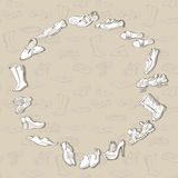 Dé los diversos tipos de dibujo de diverso calzado en vector Foto de archivo