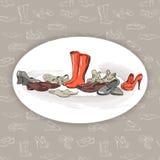 Dé los diversos tipos de dibujo de diverso calzado en vector Imágenes de archivo libres de regalías